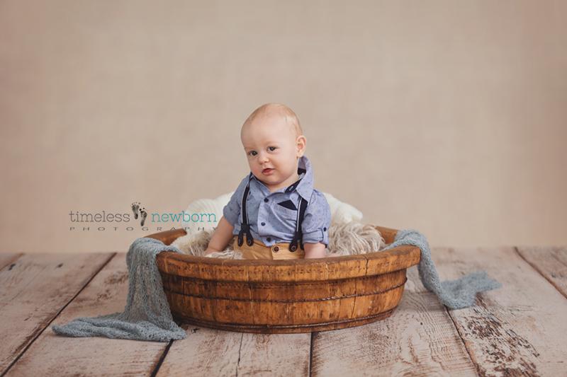Milestone portraits birthday sitter session baby